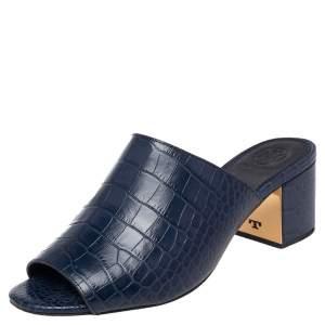 Tory Burch Blue Croc Embossed Leather Martine Block Heel Slide Sandals Size 37