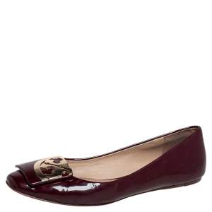 Tory Burch Burgundy Patent Leather Ballet Flats Size 38.5
