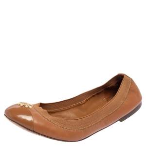 Tory Burch Brown Leather Scrunch Ballet Flats Size 37
