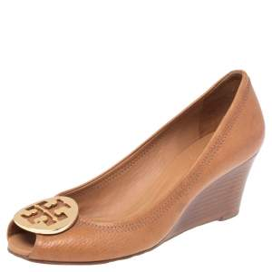 Tory Burch Brown Leather Peep Toe Wedge Pumps Size 37