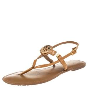 Tory Burch Brown Patent Leather Thong Flats Size 39