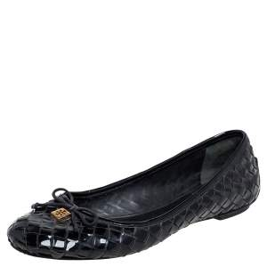 Tory Burch Black Woven Patent Leather Bow Ballet Flats Size 40