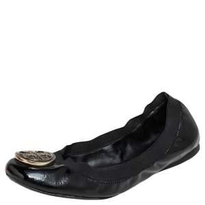 Tory Burch Black Patent Leather Scrunch Ballet Flats Size 37.5