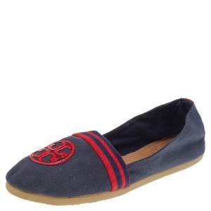 Tory Burch Navy Blue/Red Canvas And Patent Leather Logo Slip On Flats Size 38