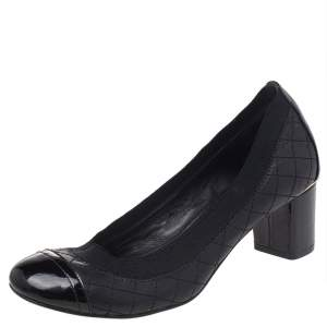 Tory Burch Black Patent And Quilted Leather Cap Toe Caroline Scrunch Block Heel Pumps Size 37