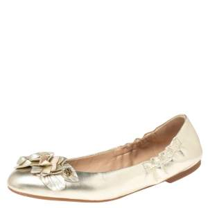 Tory Burch Gold Leather Blossom Ballet Flats Size 37.5