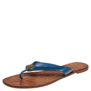 Tory Burch Blue Patent Leather Thora Thong Flats Size 38