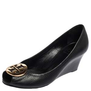 Tory Burch Black Leather Sally Wedge Pumps Size 37.5