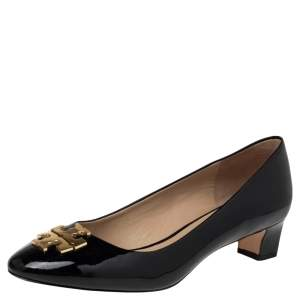 Tory Burch Black Patent Leather Raleigh Pumps Size 39