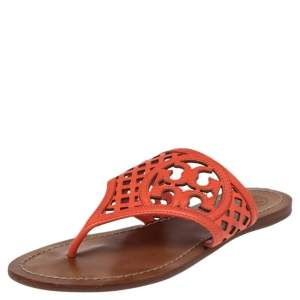 Tory Burch Coral Red Lattice Leather Flat Thong Sandals Size 36