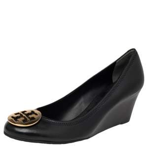 Tory Burch Black Leather Wedge Pumps Size 41