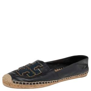 Tory Burch Navy Blue Leather Ines Logo Espadrille Flats Size 38