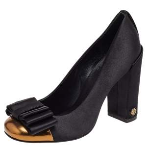 Tory Burch Black/Gold Satin And Leather Bow Block Heel Pumps SIze 37