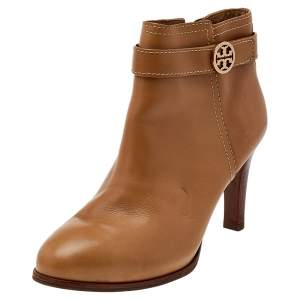 Tory Burch Beige Leather Ankle Boots Size 37