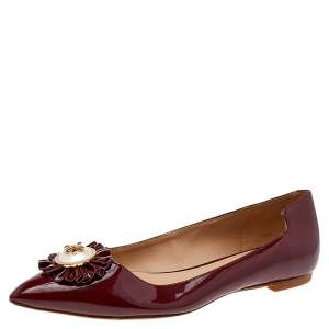 Tory Burch Burgundy Patent Leather Ballet Flats Size 36.5