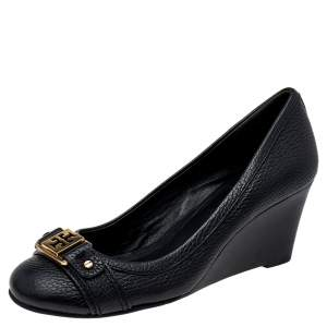 Tory Burch Black Leather Wedge Pumps Size 35