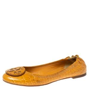 Tory Burch Mustard Croc Embossed Leather Minnie Travel Ballet Flats Size 40
