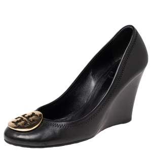 Tory Burch Black Leather Sophie Embellished Wedge Pumps Size 38