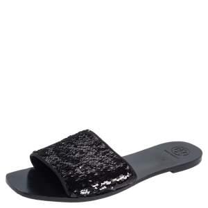 Tory Burch Black/Silver Sequins Slide Flats Size 41