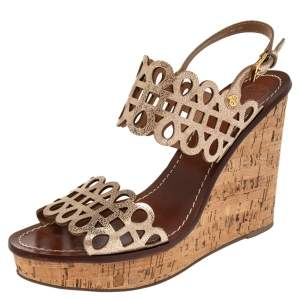 Tory Burch Shimmery Gold Laser Cut Leather Nori Cork Wedges Platform Sandals Size 39