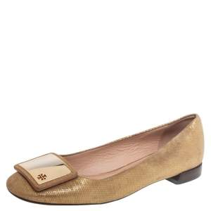 Tory Burch Gold Suede Ballet Flats Size 37