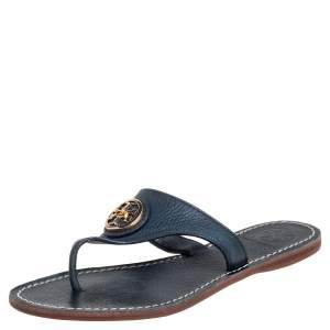 Tory Burch Navy Blue Leather Thong Sandals Size 36.5