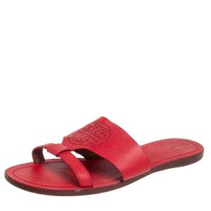 Tory Burch Red Leather Ines Flat Sandals Size 38
