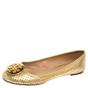 Tory Burch Gold Leather Reva Ballet Flats Size 40.5