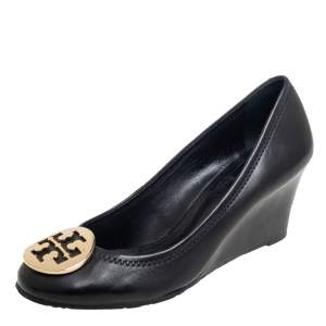 Tory Burch Black Leather Chelsea Wedge Pumps Size 37
