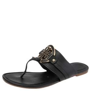 Tory Burch Black Leather Amanda Thong Flat Sandals Size 41