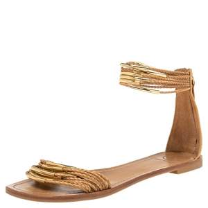 Tory Burch Tan Leather Mignon Braided Flat Sandals Size 38.5