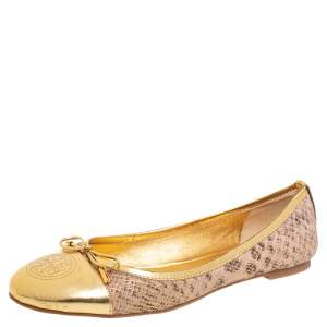 Tory Burch Gold-Beige Snakeskin Effect Suede And Glossy Leather Bow Ballet Flats Size 39.5