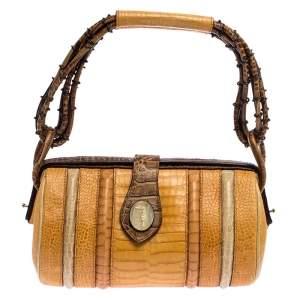Trussardi Multicolor Croc Embossed Leather Shoulder Bag