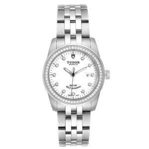 Tudor White Diamonds Stainless Steel Glamour Date M53020 Women's Wristwatch 31 MM