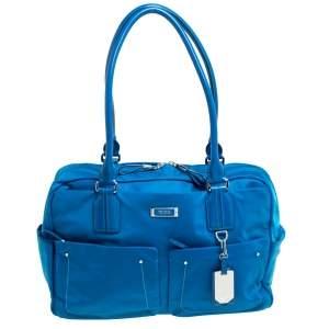 TUMI Azure Blue Nylon Double Pocket Duffel Bag