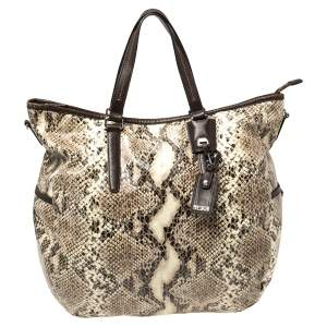 TUMI Brown/Beige Python Effect Leather Zip Shoulder Bag