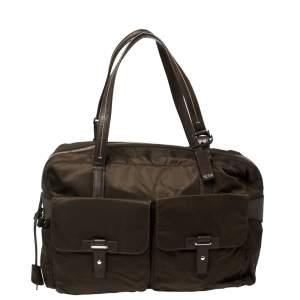 TUMI Brown Nylon and Leather Cortina Boarding Bag