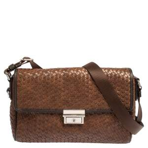 TUMI Brown/Black Woven Leather Flap Crossbody Bag