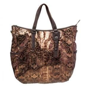 TUMI Metallic/Brown Python Effect Fabric and Leather Bag
