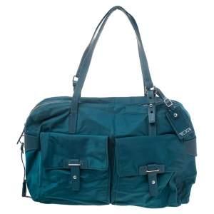 TUMI Blue Nylon and Leather Cortina Boarding Bag