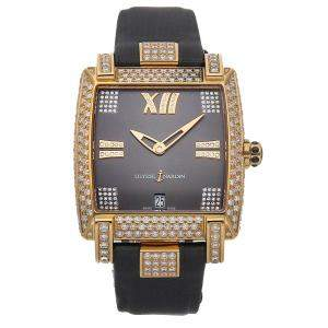 Ulysse Nardin Gray Diamonds 18K Rose Gold Caprice 136-91FC/309 Women's Wristwatch 34 x 35 MM