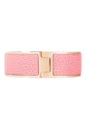 Valextra Pink Leather Gold Tone Hinged Bracelet