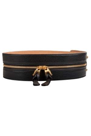 Barbara Bui Black Leather Zipper Waist Belt 36