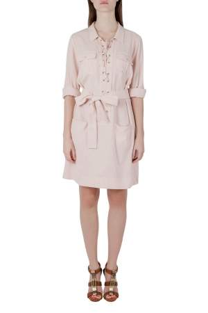 See by Chloe Blush Pink Cotton Lace Up Long Sleeve Shirt Dress M