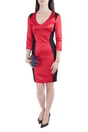 Just Cavalli Dark Red Stretch Satin Contrast Lace Paneled V Neck Sheath Dress S