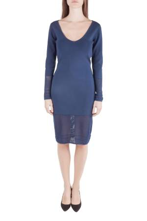 Zac Posen Navy Blue Stretch Knit Sheer Pointelle Trim Long Sleeve Midi Dress M