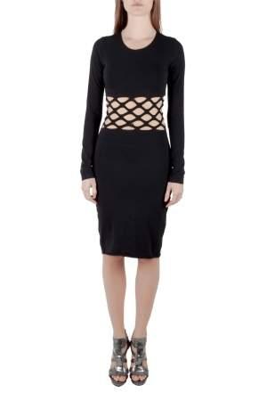 Jean Paul Gaultier Soleil Black Cotton Jersey Distressed Waist Bodycon Dress S