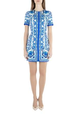 Dolce & Gabbana Blue and White Majolica Printed Silk Fitted Sheath Dress S
