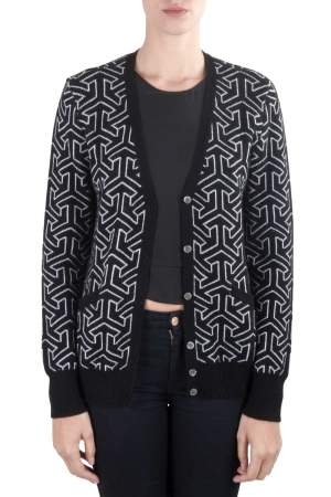 Equipment Femme Black and Ivory Cashmere Wool Jacquard Sullivan Cardigan M