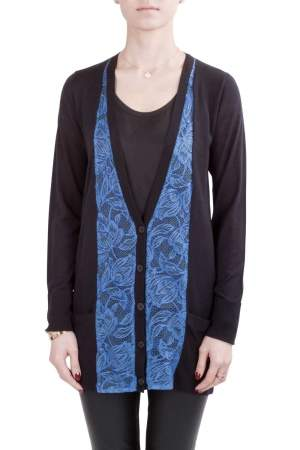 Vera Wang Collection Black and Blue Lace Trim Button Front Cardigan S